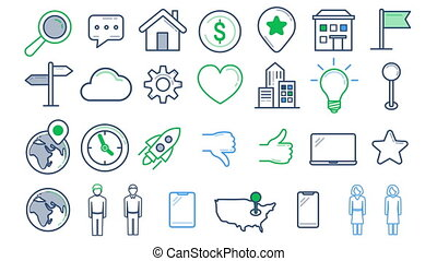Line icons on the white background - Set of animated line...