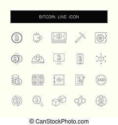 Line icons set. Bitcoin pack.