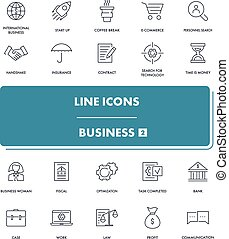 Line icons set. Business 2