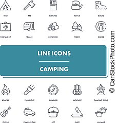Line icons set. Camping