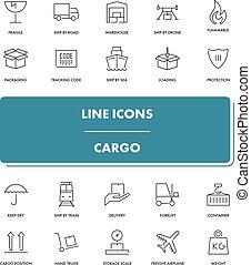 Line icons set. Cargo
