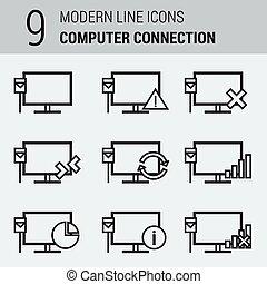Line Icons Set - Computer Connection