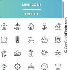 Line icons set. Eco Life