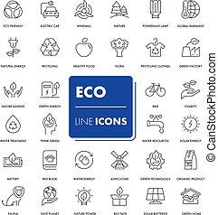 Line icons set. Eco