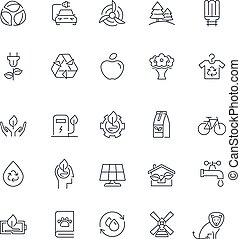 Line icons set. Eco pack. Vector illustration