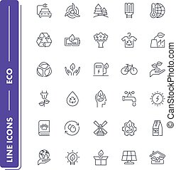 Line icons set. Eco pack.