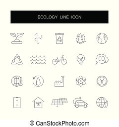 Line icons set. Ecology pack. Vector illustration