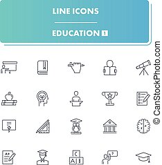 Line icons set. Education 1