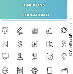 Line icons set. Education 2