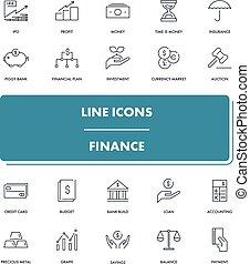 Line icons set. Finance