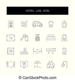 Line icons set. Hotel pack.
