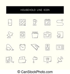 Line icons set. Household pack.