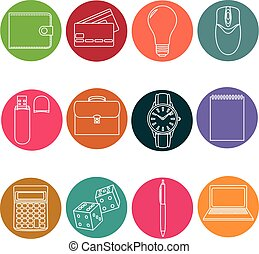 Line icons set. icons for business, management