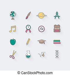 Line icons set in flat design. Elements of School and Education. Modern infographic linear vector illustration.