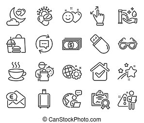 Line icons set. Included icon as Certificate, Coronavirus ...