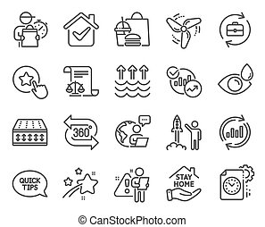 Line icons set. Included icon as Stay home, Evaporation, Project deadline signs. Update data, Loyalty star, Launch project symbols. 360 degree, Eye drops, Statistics. Flexible mattress. Vector