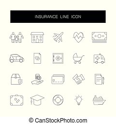 Line icons set. Insurance pack.