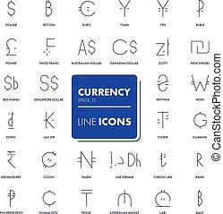 Line icons set. market.