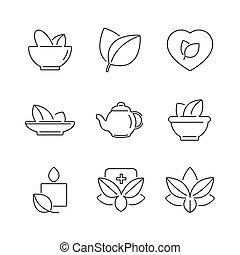 line icons Set of Alternative Medicine, herb Icons
