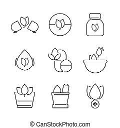 line icons Set of Alternative Medicine Icons