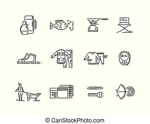 Line icons set of hunting fishing camping.