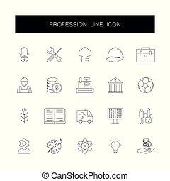 Line icons set. Profession pack.