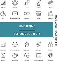 Line icons set.  School subjects