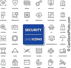 Line icons set. Security