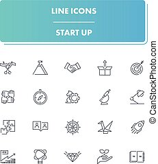 Line icons set. Start Up
