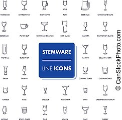 Line icons set. Stemware pack 1. Vector illustration.