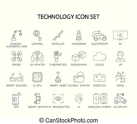 Futuristic technology line icons  Set of pixel thick line style