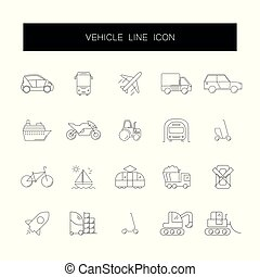 Line icons set. Vehicle pack.