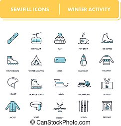 Line icons set. Winter Activity pack. Vector illustration...