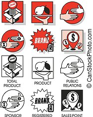Line icons set with of marketing and distribution