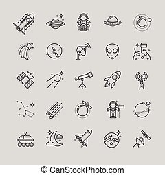 Line icons - space, astronomy set