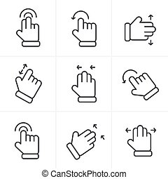 Line Icons Style Basic human gestures using modern digital devices Icons Set, Vector Design