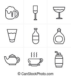 Line Icons Style Beverage icons