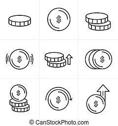 Line Icons Style Coins Icons Set, Vector Design