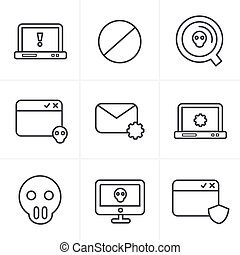 Line Icons Style  Digital criminal icons set