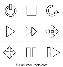 Line Icons Style media Icons Set, Vector Design