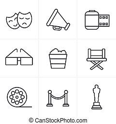 Line Icons Style Movie Icons Vector design