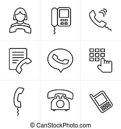 Line Icons Style Phone icons