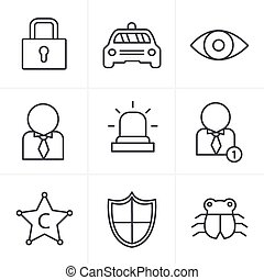 Line Icons Style Security icon set on white background