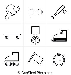 Line Icons Style Set of monochromatic simple sports icons
