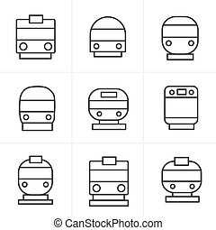 Line Icons Style Set of transport icons - Train and Tram, vector illustration