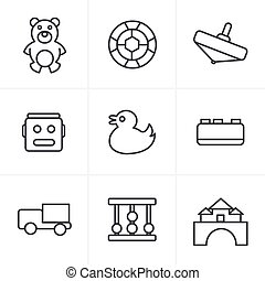 Line Icons Style Toys Icons