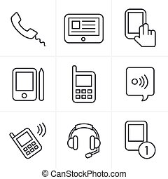 Line Icons Style vector black phone icons set on gray