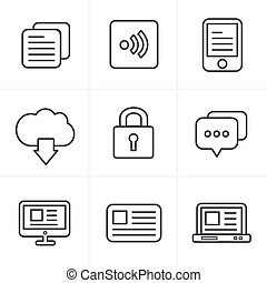 Line Icons Style  Website Icons Set, Vector Design