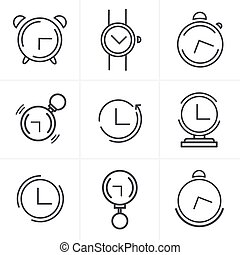 Line Icons Time Clock Icons Set, Vector Design