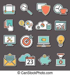 Line icons with flat design elements of business people organization, human resource management, company seminar training, career progress. Modern infographic vector logo pictogram collection concept.